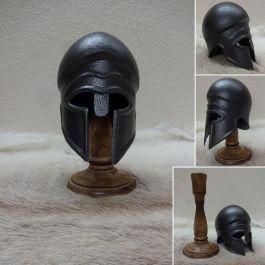 Mini Greek Corinthian Helmet and Stand